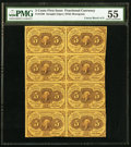 Fractional Currency:First Issue, Fr. 1230 5¢ First Issue Uncut Block of Eight PMG About Uncirculated55.. ...