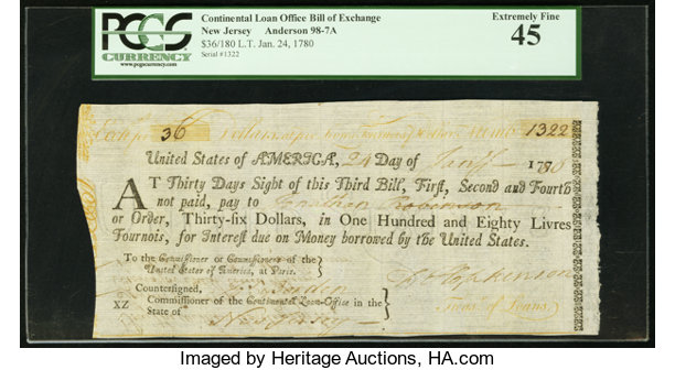 United States Of America New Jersey Continental Loan Office Lot 20011 Heritage Auctions