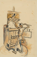 Works on Paper, Thomas Hart Benton (American, 1889-1975). Poking Stick in Cotton Gin, circa 1930. Ink, pencil, and watercolor on paper. ...
