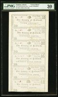 Obsoletes By State:Virginia, Liberty, VA- County of Bedford 10¢-15¢-20¢-25¢-25¢-50¢ July 1, 1862 Uncut Sheet. ...