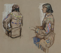 Dean Cornwell (American, 1892-1960) Study of Indian Costumes Pastel on paper 18.5 x 21.5 in. A