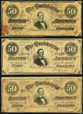 Confederate Notes, T66 $50 1864 PF-3 Cr. 497; PF-8 Cr. 499; PF-11 Cr. 500.. ... (Total: 3 notes)