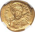 Ancients:Byzantine, Ancients: Justinian I the Great (AD 527-565). AV solidus (20mm,4.47 gm, 6h). NGC MS 5/5 - 4/5....
