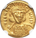 Ancients:Byzantine, Ancients: Constantine IV (AD 668-685). AV solidus (19mm, 4.46 gm,6h). NGC MS 5/5 - 4/5....