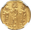 Ancients:Byzantine, Ancients: Heraclius (AD 610-641), with Heraclius Constantine andHeraclonas as Caesar. AV solidus (22mm, 4.47 gm, 7h). NGC Choice AU5/5...