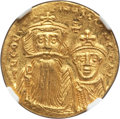 Ancients:Byzantine, Ancients: Constans II Pogonatus (AD 641-668), with Constantine IV(AD 654-685). AV solidus (20mm, 4.42 gm, 6h). NGC MS 5/5 - 4/5....