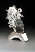 Silver & Vertu:Hollowware, A Large Alejandro Gomez and Rafael Tapia Mexican Leopard Opal and Silver Bust of the Aztec Warrior Cuauhtémoc, 20th century...
