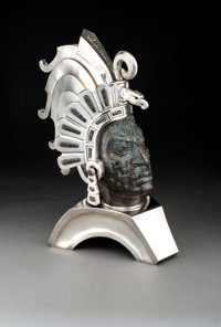 A Large Alejandro Gomez and Rafael Tapia Mexican Leopard Opal and Silver Bust of the Aztec Warrior Cuauhtémoc, 20...