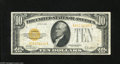 Small Size:Gold Certificates, Fr. 2400 $10 1928 Gold Certificate. Fine. This note faces up nicely thanks to the retention of its dazzling color....