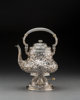 A Whiting Mfg. Co. Silver Floral Repoussé Hot Water Kettle on Stand, New York, New York, late 19th-early 20th cen...