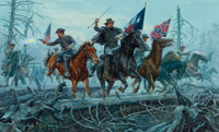 Morton Künstler (American, b. 1931) The Fight of Fallen Timbers: Colonel Nathan Bedford Forrest and Captain Joh