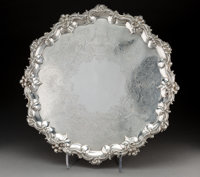 A Large William Ker Reid Victorian Silver Footed Salver, London, England, 1839 Marks: (lion passant), (leopard), (