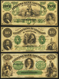 Obsoletes By State:Louisiana, Shreveport, LA- Citizens' Bank of Louisiana $5; $10; $20 18__ Remainders. ... (Total: 3 notes)