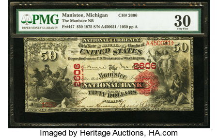 Manistee, MI - $50 1875 Fr. 447 The Manistee NB Ch. # 2606 ...