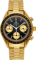 Timepieces:Wristwatch, Omega 18k Gold Speedmaster Automatic Chronograph, Box & Papers. ...