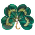 Estate Jewelry:Brooches - Pins, Cultured Pearl, Enamel, Gold Brooch, A. J. Hedges & Co.. ...