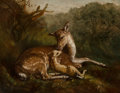 Paintings, Arthur Fitzwilliam Tait (American, 1819-1905). Deer and Fawn, 1870. Oil on canvas. 21-3/4 x 28-1/2 inches (55.2 x 72.4 c...