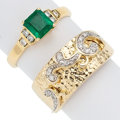 Estate Jewelry:Rings, Emerald, Diamond, Gold Rings . ... (Total: 2 Items)