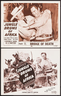 """Jungle Drums of Africa (Republic, 1952). Title Lobby Card & Lobby Card (11"""" X 14"""") Chapter 11 -- """"Bri..."""