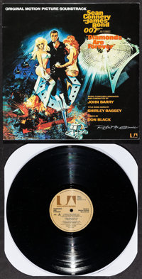 """Diamonds are Forever (United Artists, R-2015). Autographed Vinyl Record Soundtrack (12.25"""" X 12.25"""") Robert Mc..."""