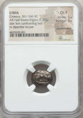 Ancients:Greek, Ancients: LYDIA. Time of Croesus (ca. 561-546 BC). AR half stateror siglos (5.29 gm). NGC Choice Fine 5/5 - 3/5, countermark....
