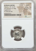 Ancients:Roman Imperial, Ancients: Tiberius (AD 14-37). AR denarius (3.74 gm). NGC Choice Fine 4/5 - 3/5....