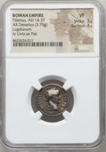 Ancients:Roman Imperial, Ancients: Tiberius (AD 14-37). AR denarius (3.75 gm). NGC VF 3/5 -4/5....