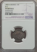 Early Dimes, 1805 10C 4 Berries, JR-2, R.2, -- Damaged -- NGC Details. VF. NGCCensus: (9/188). PCGS Population: (1/9). VF20. Mintage 12...
