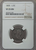 Half Cents: , 1805 1/2 C No Stems VF25 NGC. PCGS Population: (16/156). Mintage 814,464. ...