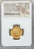 Ancients:Byzantine, Ancients: Heraclius (AD 610-641) and Heraclius Constantine.AVsolidus (4.42 gm).NGC MS 4/5 - 4/5....