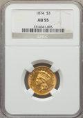 Three Dollar Gold Pieces: , 1874 $3 AU55 NGC. NGC Census: (627/1745). PCGS Population:(533/1268). AU55. Mintage 41,800. ...