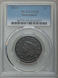 Large Cents, 1824 1C N-4, R.2, VF35 PCGS. PCGS Population: (1/6). NGC Census: (0/11). ...
