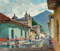 Fine Art - Painting, American, Anthony Thieme (American, 1888-1954). Calle de la Escuela deChristo, Antigua, Guatemala. Oil on canvas. 30 x 36 inches ...