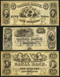 Obsoletes By State:Louisiana, New Orleans, LA- New Orleans Canal and Banking Company $5; $10(2) 18__ Remainders. ... (Total: 3 notes)