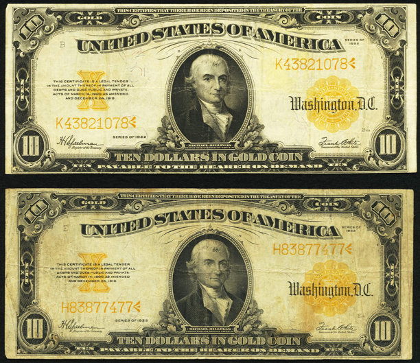 Fr 1173 10 1922 Gold Certificates Two Examples Fine Lot