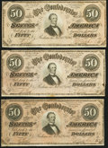 Confederate Notes, T65 $100 1864 PF-6. ... (Total: 3 notes)
