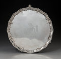 Silver & Vertu:Hollowware, A John Crouch I & Thomas Hannam George III Silver Footed Salver, London, England, 1775. Marks: (lion passant), (crowned leop...