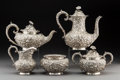 Silver Holloware, American:Tea Sets, A Five-Piece Jenkins & Jenkins Silver Repoussé Tea and CoffeeService, Baltimore, Maryland, circa 1908-1915. Marks: JENKIN...(Total: 5 Items)