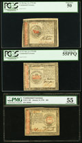 Colonial Notes:Continental Congress Issues, Three Continental Currency Notes - January 14, 1779 $50 PCGS Choice About New 55PPQ, January 14, 1779 $45 PCGS About New 50 an... (Total: 3 notes)