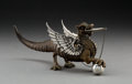 Silver & Vertu:Other Silver, A Graff, Washbourne & Dunn Silver, Bronze, and Antelope Horn Dragon of Wantley Cigar Lighter, New York, New York...