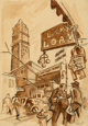 Thomas Hart Benton (American, 1889-1975) 14th Street, New York, circa 1928 Ink, pencil, and sepia wash on paper 11-7/