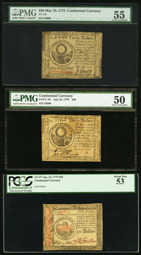 Three Continental Currency Notes - May 10, 1775 $30 PMG About Uncirculated 55, July 22, 1776 $30 PMG About Uncirculated...