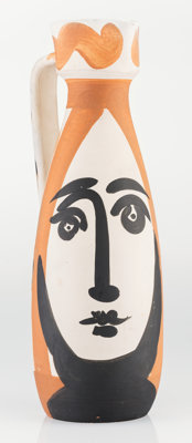 Pablo Picasso (1881-1973) Visage, 1955 Partially glaze white earthenware ceramic pitcher, painted in