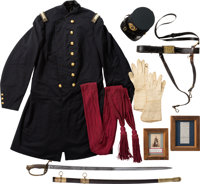 Staff & Field Officer's Group: Including Frock Coat, Forage Cap, Pair of Gauntlets and Model 1850 Officer's Sword &a...