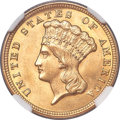 Three Dollar Gold Pieces, 1854 $3 MS63+ NGC....