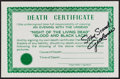 """Movie Posters:Horror, Night of the Living Dead/Blood and Black Lace Combo (Various, R-1972). Autographed Promotional Death Certificate (5.5"""" X..."""
