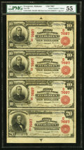 Evergreen, AL - $10-$10-$10-$20 1902 Red Seals Fr. 613-613-613-639 First NB Ch. # (S)7687 Uncut Sheet