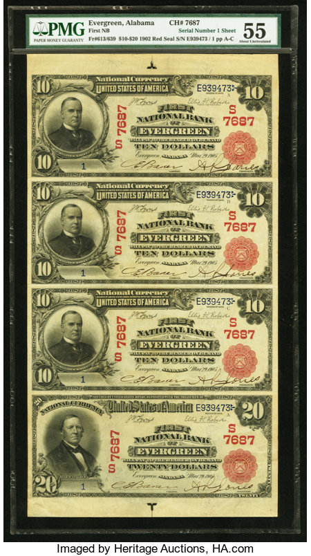 Evergreen, AL - $10-$10-$10-$20 1902 Red Seals Fr. 613-613-613-639 First NB Ch. # (S)7687 Uncut Sheet ... (Total: 3 items)