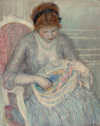 Frederick Carl Frieseke (American, 1874-1939) Girl with a Basket of Ribbons, painted by 1915 Oil on