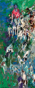 Paintings, LeRoy Neiman (American, 1921-2012). English Hunting Hounds. Oil on Masonite. 51 x 20-3/4 inches (129.5 x 52.7 cm). Signe...